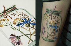 #tattoofriday - Rit Kit Tattoo, Ucrânia - tatuagens botânicas e florais, aquarelas, sem contorno;