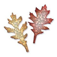 Sizzix Movers & Shapers Magnetic Die Set 2PK - Mini Tattered Leaves Set $15.99