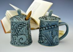 Lidded mug and sugar jar set. http://www.etsy.com/listing/86909942/lidded-teacup-mug-and-sugar-jar #etsy $98