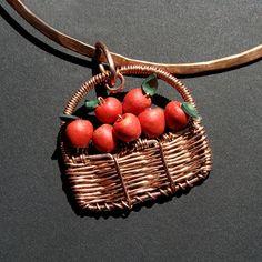 Apple Basket Pendant by Ruth Jensen, via Flickr pendants, appl basket, basket pendant, apples, baskets
