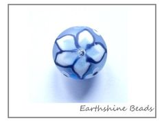 SALE Handmade lampwork glass bead round with by Earthshinebeads, £7.50
