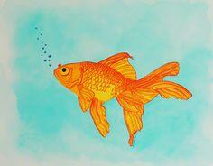 Goldfish - Watercolor & India Ink by Brina Beury #art #illustration #goldfish