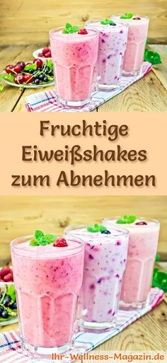 Fruity protein shakes - smoothies & slimming shakes for yourself .- Fruity protein shakes and other delicious slimming shakes, protein shakes & smoothies to make yourself for the slim line … Smoothies Sains, Smoothies Banane, Apple Smoothies, Protein Smoothies, Healthy Protein, Healthy Weight, Protein Shakes, Best Smoothie, Recipes