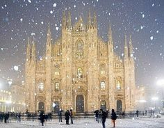 Winter Wonderland in Milan. Duomo Cathedral in Milan, Italy. Saw milan in the summer, this looks so ethereal though! Places Around The World, Oh The Places You'll Go, Places To Travel, Places To Visit, Around The Worlds, Travel Destinations, Beautiful World, Beautiful Places, Amazing Places