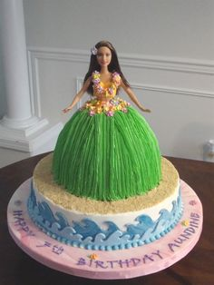 Aundine's Hula Barbie Buttercream icing, fondant accents and royal flowers. I used the wonder mold and barbie. Luau Birthday Cakes, Luau Cakes, Hawaiian Birthday, Moana Birthday Party, Birthday Cake Girls, Luau Party, Moana Party, Barbie Birthday Cake, Hawaiian Parties