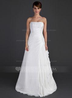 Corte A/Princesa Estrapless Vestido Gasa Tafetán Vestido de novia con Bordado Cascada de volantes.