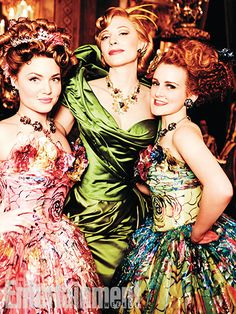 Lady Tremaine and her daughters at the ball - Cate Blanchett - Anastasia - Drizella - Holliday Grainger - Sophie McShera - Cinderella 2015 Cinderella Gowns, Cinderella Movie, Cinderella 2015, Cinderella Costume, Disney Villains, Disney Movies, Live Action, Sandy Powell, Holliday Grainger