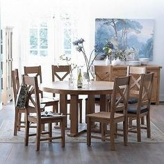 Oakham Round Dining table Set table and 6 chairs oak