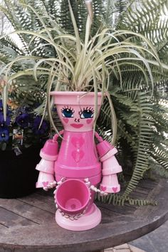 Pretty-in-Pink Pot Lady - Double Flower Pot Feature by SunnyDazeByViv on Etsy