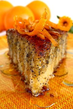 Orange cake with poppy - slice detail Romanian Desserts, Romanian Food, Romanian Recipes, Sweets Recipes, Cake Recipes, Cooking Joy, My Favorite Food, Favorite Recipes, Russian Cakes