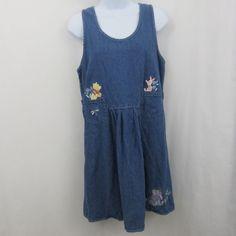 da01490d543 Disney Store Winnie the Pooh Denim Jumper Dress Size S Piglet Eeyore