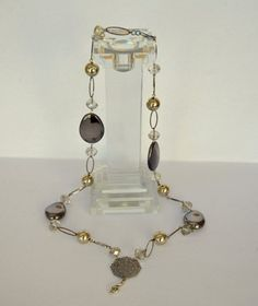 Silver chunky metallic acrylic necklace