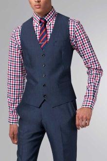 Shirt and smart formal on pinterest men 39 s waistcoat men for Navy suit checkered shirt