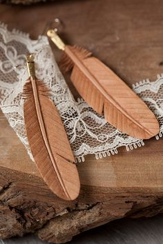 leather feather earrings-SR