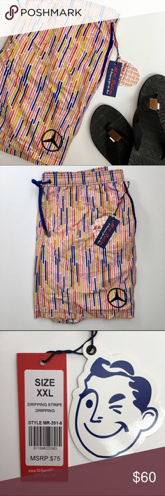 Mr. Swim MERCEDES BENZ Men's Swim Shorts/Trunks Hit the beach in retro fashion with these Mercedes Benz Swim Trunks. With a cool pattern and a comfortable elastic waistband, you'll be able to swim, surf or play in the sand in comfort.  Fabric & Care Hand wash cold. Lay flat to dry. 100% Nylon. Details Printed swim trunks. Allover stripe print. Solid elastic waistband with grommet and drawstring detail. Two pockets at side seam with contrasting trim. Back patch pocket. Superfine mesh bucket…