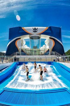Ovation of the Seas | Surf's up with the crew. Cruise with Royal Caribbean and hop on the FlowRider surf simulator to put your surfing skills to the test.