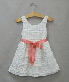 Love this White & Coral Flower Lace Dress - Infant & Toddler on #zulily! #zulilyfinds