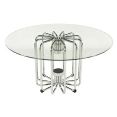Melon Form Chrome & Glass Dining Table | From a unique collection of antique and modern dining room tables at https://www.1stdibs.com/furniture/tables/dining-room-tables/