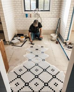 Foreclosure Home Remodeling There are many foreclosure home remodeling projects being undertaken everyday by professional contractors. These repair teams specialize in turning a foreclosed home int… Bathroom Renovations, Home Renovation, Home Remodeling, Bathroom Makeovers, Basement Renovations, Penny Tile, Hex Tile, Tiling, Boho Home