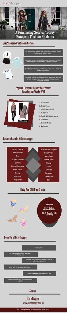 A Purchasing Service To Buy European Fashion Products   EuroShopper is a popular website that provides Australians access to European fashion online. It works in conjunction with European stores who provide fashion products that are not shipped outside Europe. For more info visit: http://www.euroshopper.com.au  Buy European Fashion Products