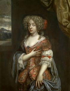 1660 - 1680's German (Paris), Benedicta Henrietta, Duchess of Brunswick-Lüneberg. Three-quarter-length, standing, facing half to the left, her right hand on her breast, her left clasping her blue mantle; she is wearing a red brocade dress with floral design, pearls at neck and breast; mountainous landscape beyond on left. Royal Collections Trust, UK.