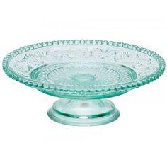 Mint glass cake stand