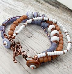 Bracelet Periwinkle Pumpkin and Violet with Copper by lunedesigns