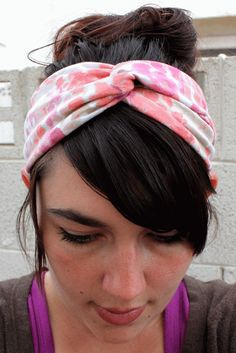 I quickly stitched the ends and made one today...love it!  I left the sides of strips raw but with knit t-shirt fabric it will not unravel.   Honeybee Vintage: DIY Twisted Turban Headband (from an old t-shirt)
