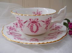 vintage coalport  pink queensbury teacup and saucer, fine english bone china, pink roses, ribbon, garland, floral, gold trim