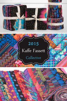 "Kaffe Fassett, Brandon Mably and Philip Jacobs collaborated to create Rowan's 2015 Kaffe Fassett Collective –– ""the most coveted prints in the quilting fabric-sphere""! Featuring sumptuous hues and spectacular prints, these pre-cuts are designed to make a statement."