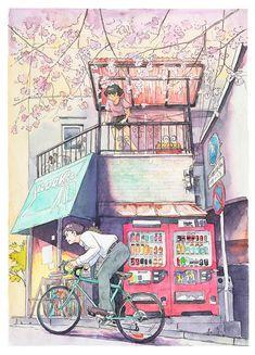 Bicycle Boy in Japan – Une jolie série de peintures aquarelles par Mateusz