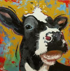 Cow painting 806 20x20 inch animal original oil painting by RozArt, $200.00