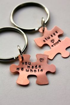 "These ""Puzzle Piece"" personalized keychaina are the perfect idea for Valentines Day gift, for boyfriend and girlfriend gift, for an individual or a couple gift or an wedding anniversary gift."