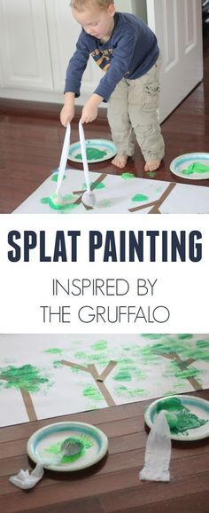 Toddler Approved: Splat painting Inspired by The Gruffalo by Julia Donaldson! Such a fun way to paint! Gruffalo Activities, Preschool Science Activities, Fun Activities For Kids, Preschool Art, Creative Activities, Book Activities, Preschool Painting, Painting Activities, Kindergarten Art