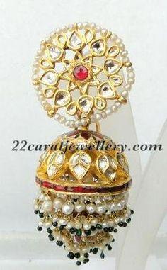 Uncut diamond with enamel work jhumka. Description by Pinner Mahua Roy Chowdhury.