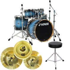 You can't beat this deal! Sonor Select Force 5pc Stage 3 Drum Set Blue Galaxy Sparkle COMPLETE