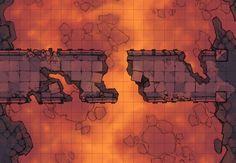 The Dragon's Lair Bridge, a battle map for D&D / Dungeons & Dragons, Pathfinder, Warhammer and other table top RPGs. Tags: underdark, lava, bridge, magma, road, spooky, ruins, mountain, volcano