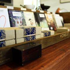 Array of Honest Chocolate slabs and bonbons in the Woodstock Exchange Shop, Cape Town.