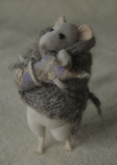 Felted mouse mama in a sweater  and baby, by Natasha Fadeeva