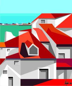 Mother Games, Guache, Landscape Illustration, Cubism, Algarve, Abstract Art, Art Deco, Wall Art, Canvas