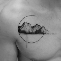 Mountain and tree silhouette line tattoo