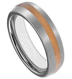 6mm Tungsten Rings 18K Gold Plated Center Brushed Surface Band