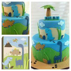 Dinosaurs cake--too cute to eat