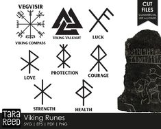 Looking for Viking runes, a nordic compass (also called a vegvisir) or valknut for crafting? Then this is the svg and cut file bundle for you! Viking Tattoo Symbol, Norse Tattoo, Symbol Tattoos, Viking Tattoos, Viking Symbol For Strength, Wiccan Tattoos, Ear Tattoos, Inca Tattoo, Tattoo Symbols