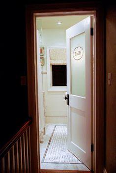 Rambling Renovators: main bathroom i love the look of the old glass door!