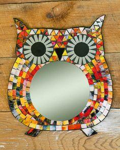 Bright Eyed Owl Mosaic Mirror,