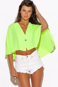 ▶️ Online Shopping MiniHaul via @1015Store Follow Me At Pinterest/MissyKsCloset Cute cheap neon lime green sheer chiffon cape crop blazer top