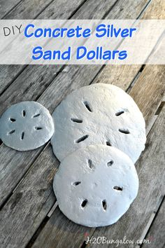 Concrete Silver Sand Dollars are fun to make and can be used for wall decor, stepping stones and more! www.H2OBungalow.com