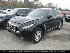 Salvage 2013 INFINITI FX37  THIS IS A SALVAGE REPAIRABLE VEHICLE WITH LIGHT FRONT END DAMAGE . RUNS , DRIVES , ALL AIRBAGS INTACT AND IS AWD. For more information and immediate assistance, please call +1-718-991-8888