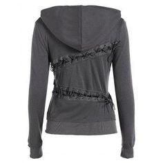 #AdoreWe #DressLily Dresslily Hooded Long Sleeve Lace Up Solid Color Hoodie - AdoreWe.com